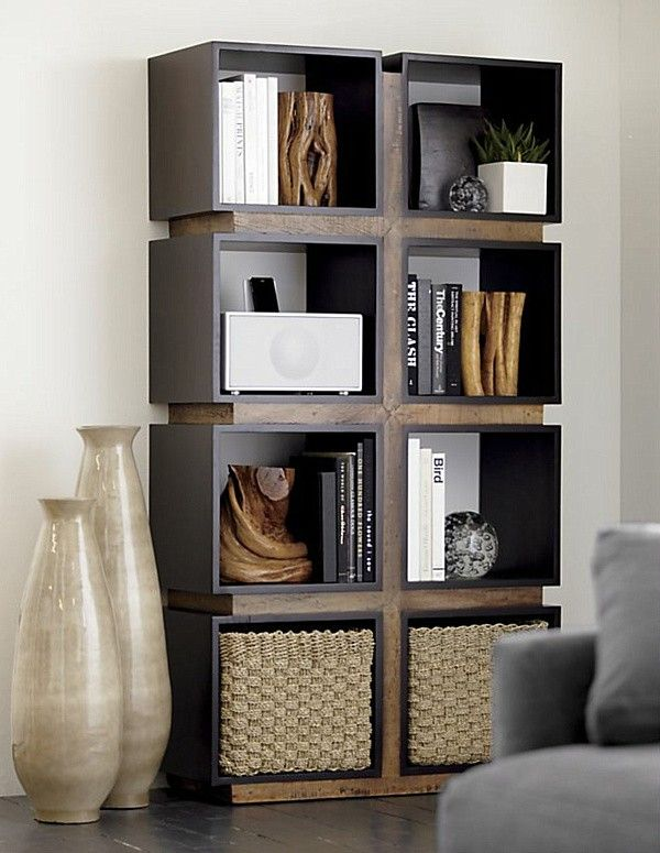 wall storage cubes with rattan baskets bookcase wall shelving living room display - Baskets For Bookshelves