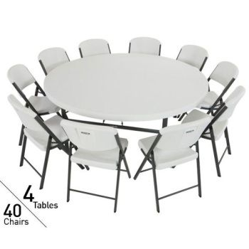 80145 Lifetime 4 72 Inch Round Tables 40 Chairs Package In White