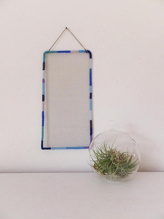 Large Mesh Earring Holder With Wire Blue Border Boho