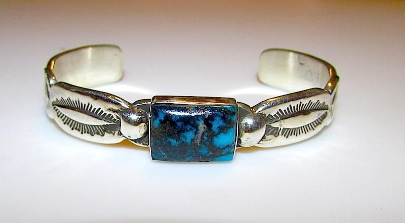 Vintage Native American Navajo Sterling Silver Blue Diamond Mine Turquoise Cuff Bracelet Hand Etched Tribal Navajo Design. Signed