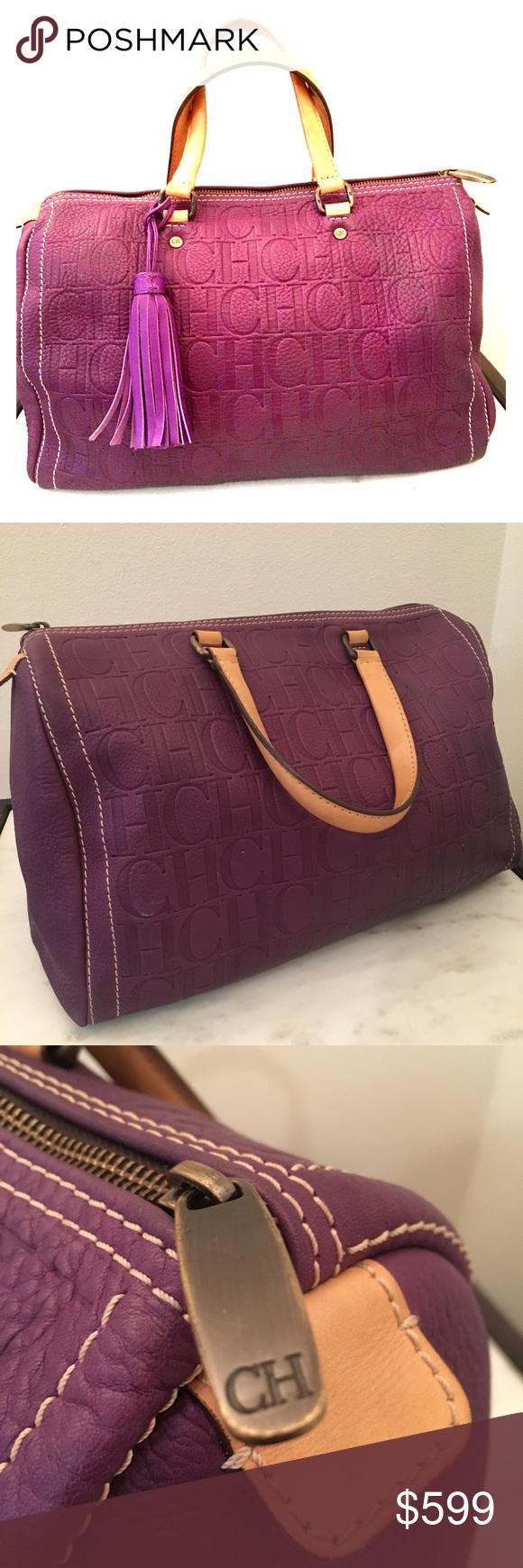 8e344a1334a6 Carolina Herrera Andy Bag Purple Purple embossed leather logo Carolina  Herrera Medium Andy Bag with brushed