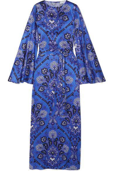 a030092a102a Caroline Constas - Liliana Printed Stretch-silk Satin Maxi Dress - Blue