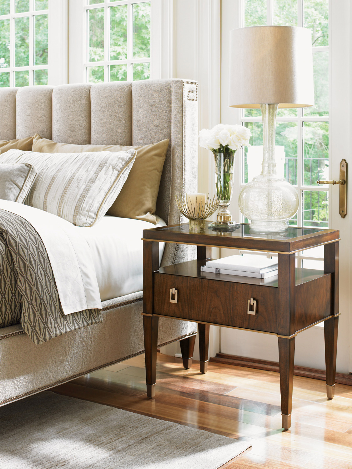 Tower Place Copley Nightstand in Walnut Brown Lexington