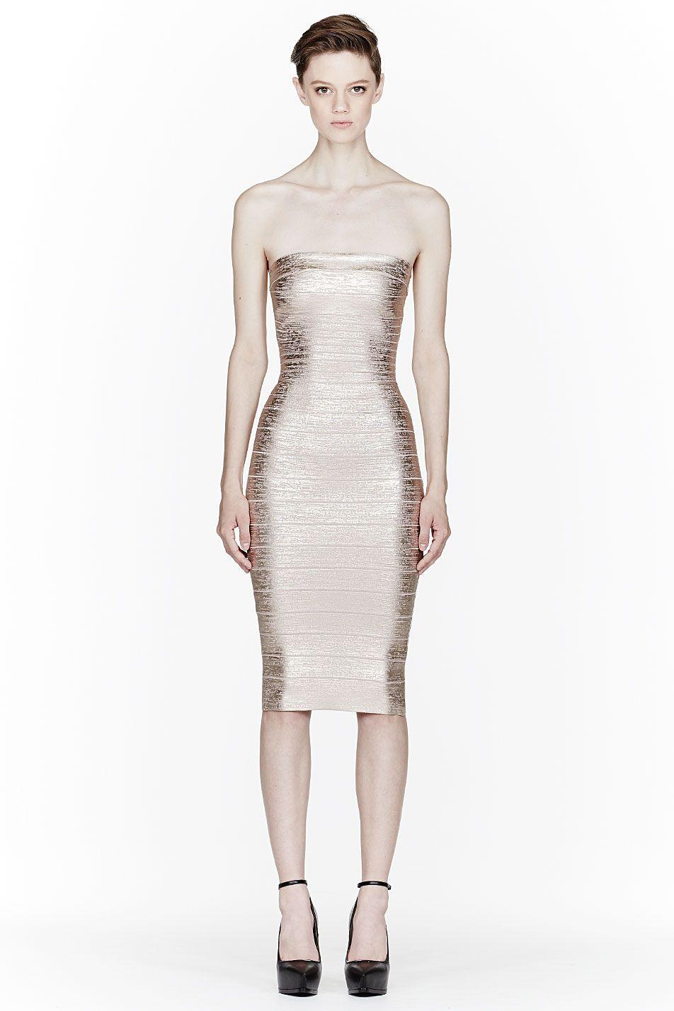 Herve leger rose gold metallic strapless sheath bandage dress my