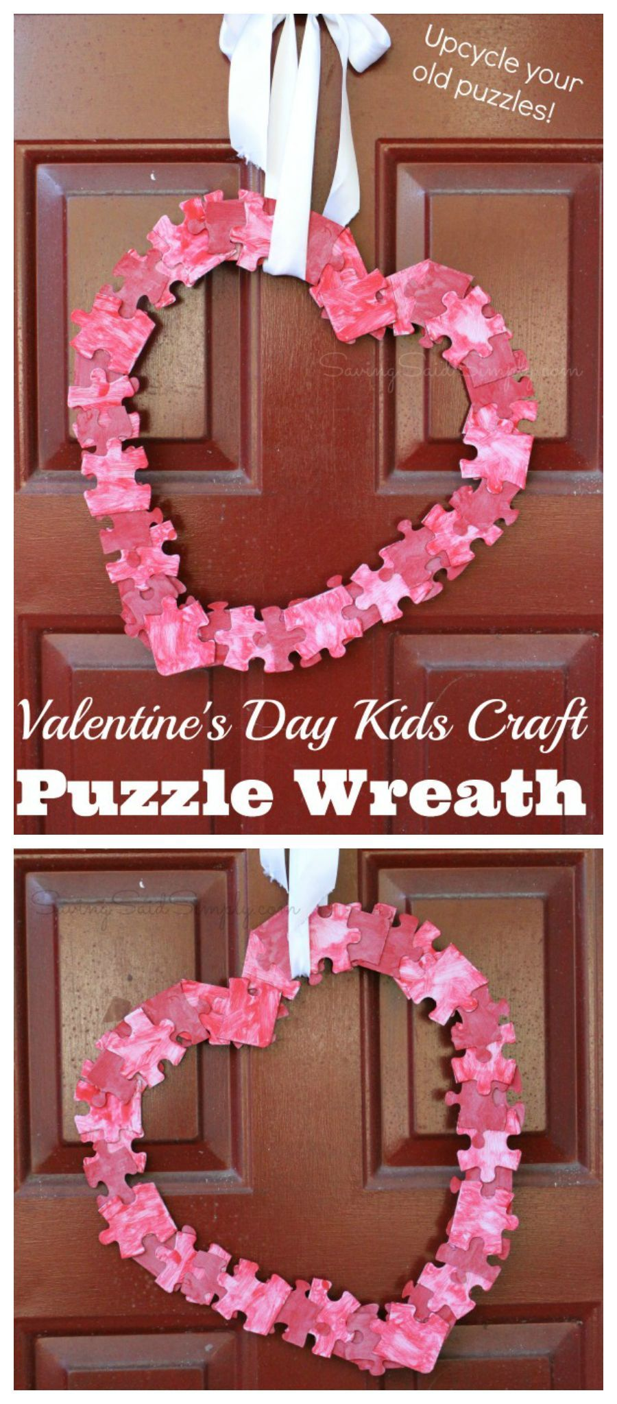Valentines Day Kids Craft Puzzle Wreath Valentines Day Kids Craft Puzzle Wreath