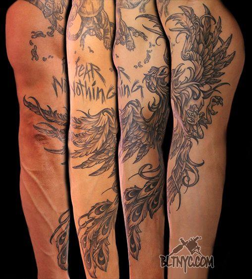 Black And Gray Phoenix Tattoo By Ny Nic Tattoo Tattooartist