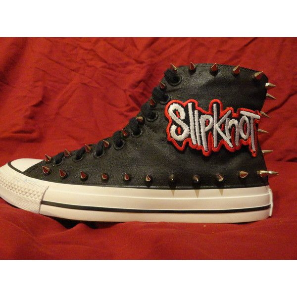 eb0839b98a9acd SLIPKNOT Metal Punk Rock CUSTOM Studded Converse Chuck Taylor All Star...  (£84) ❤ liked on Polyvore featuring shoes