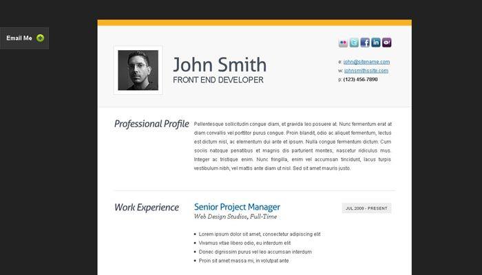 Clean Cv Resume Html Template Sample Resume Templates Resume Template Examples Resume Templates
