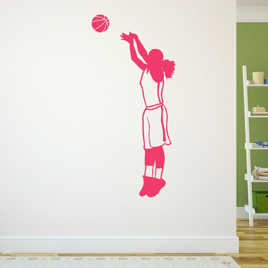 Basketball girl silhouette removable chalktalkgraphix wall decal basketball girl silhouette removable chalktalkgraphix wall decal chalktalkgraphix life size basketball wall stickers amipublicfo Images