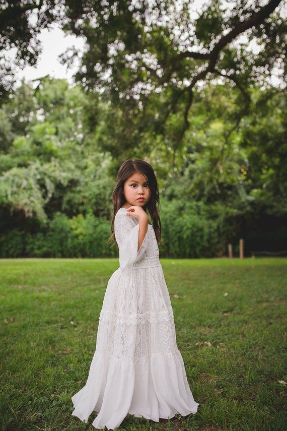 0df57a80f45d Toddler Girl Vintage White Lace Baptism Baptismal Dress Boho First  Communion Ruffle Maxi Dress with