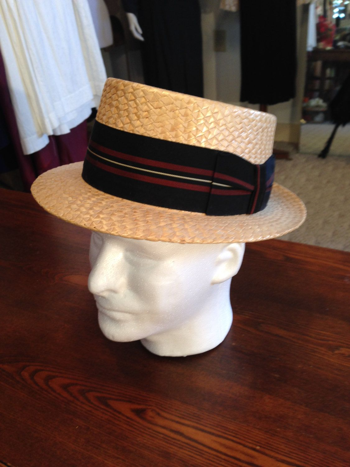 9f4791fb Authentic 1920'S CAVANAGH Straw Boater Hat Men's Size 6 7/8 by  OldohioVintage on Etsy