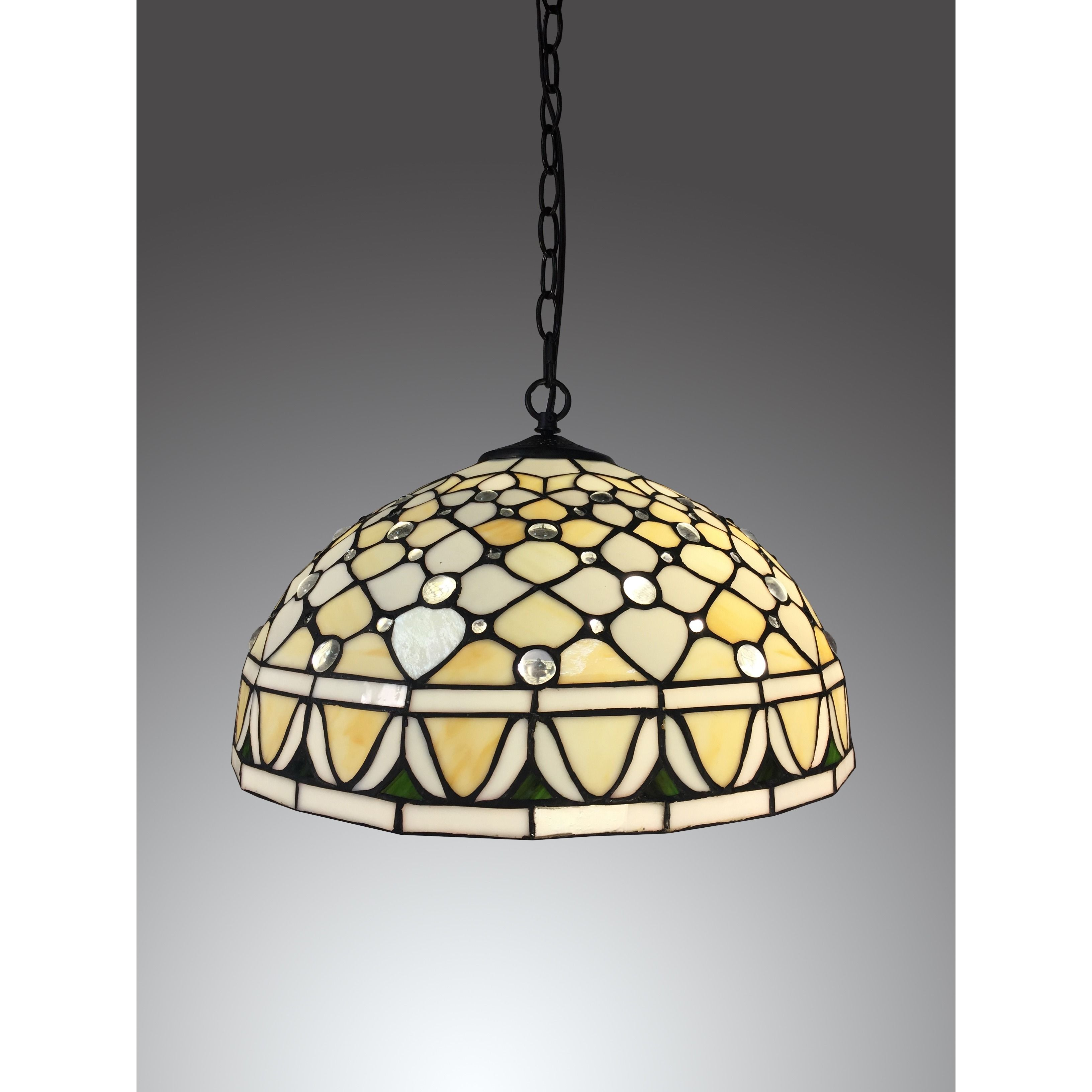 This Tiffany Style Lamp Uses A Hanging Chain And Wire To Suspend Above  Tables,