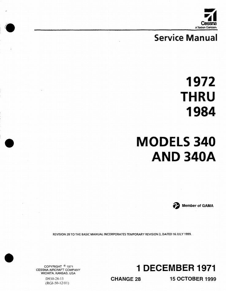 Advertisement EBay Cessna 340 340A Maintenance Manual And