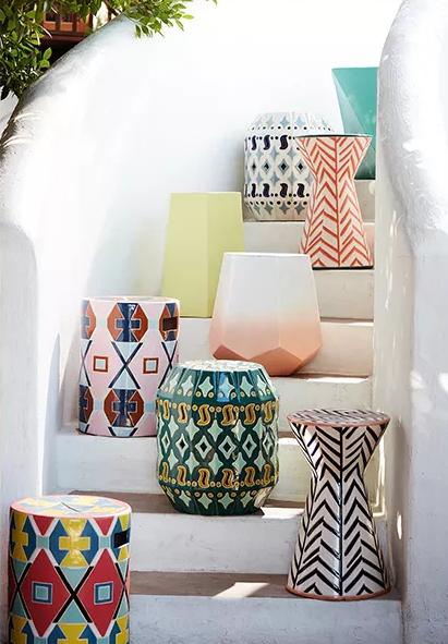 Colourful Ceramic Outdoor Indoor Side Table Decor De Patio