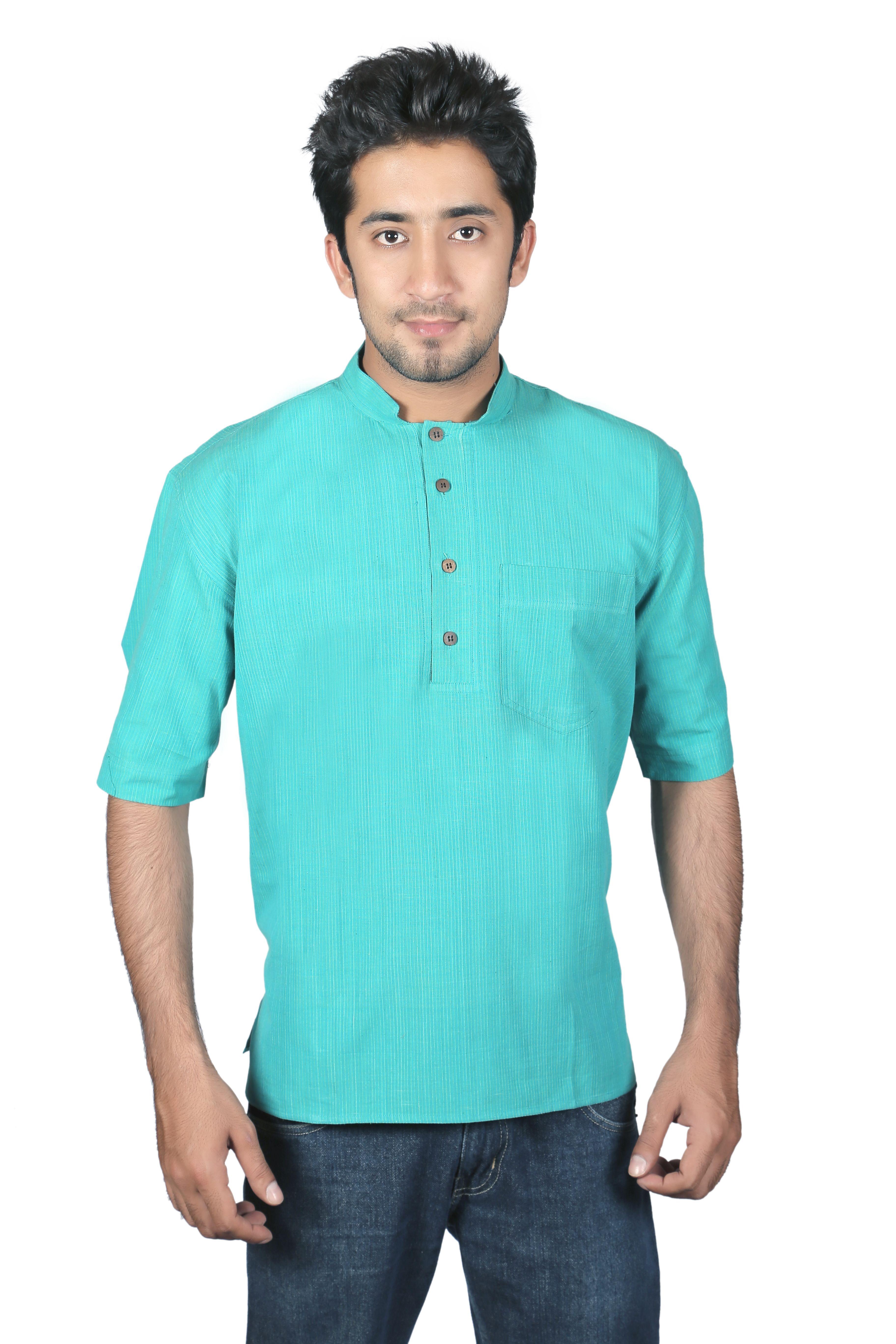 cc932aaa Cotton Khadi Mens Half Sleeve Short Kurta By Kumbaya | Success ...