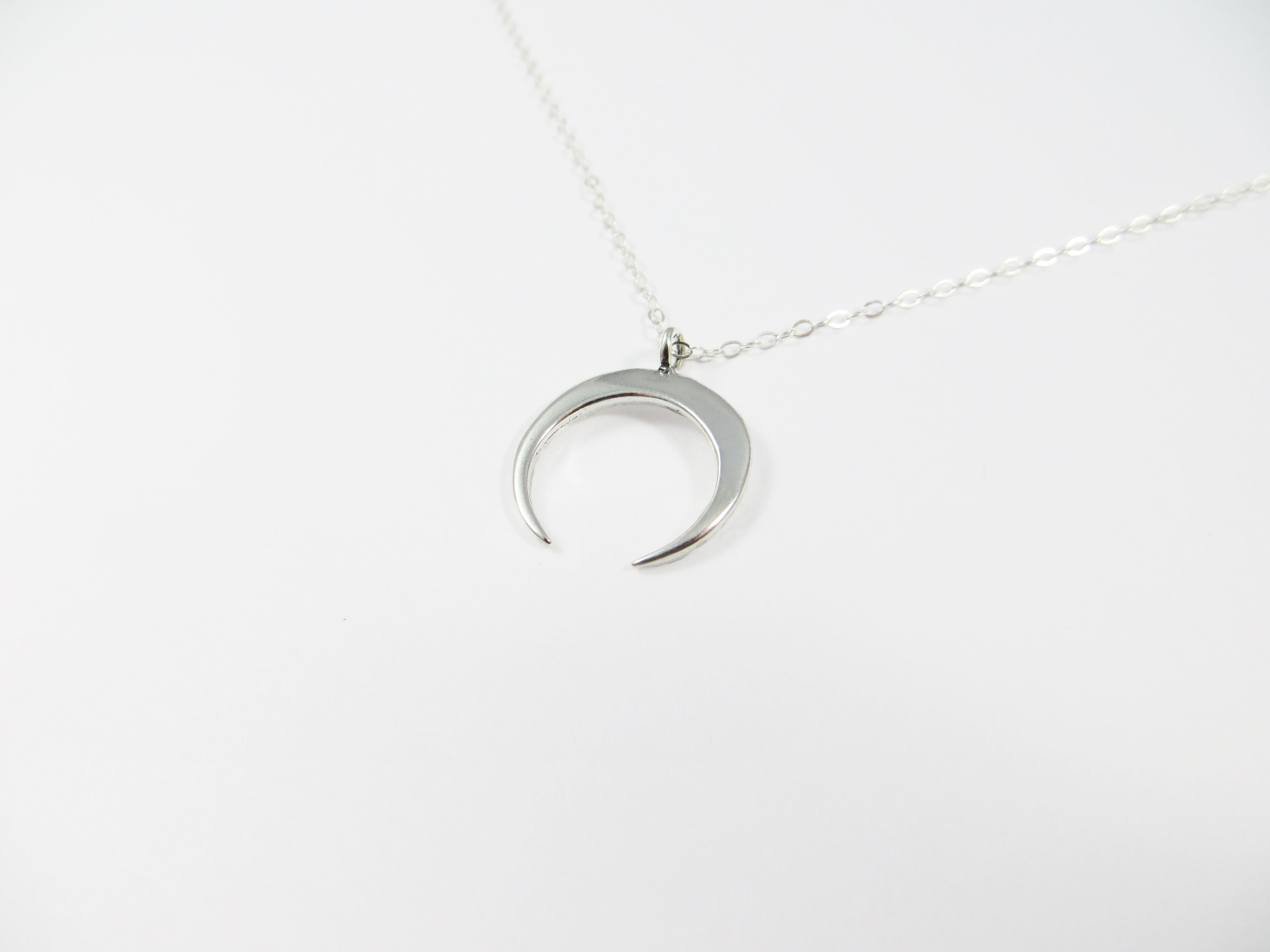 Half Moon Necklace Great for layering and everyday wear Sterling