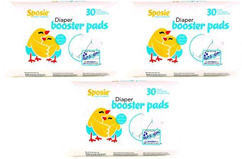 Sposie Booster Pads Diaper Doubler, 90 Count, 3 Packs of 30 Pads - This long wearing extra absorbency pad simply inserts into diapers or training pants. Sposie is perfect for extended use situations like nighttime or travel. Our unique flow through pad wicks away moisture that often irritates skin. Sposie can hold up to 8 oz of fluid and will keep you feeling dr...
