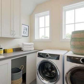 White and Gray Laundry Room with Two Tone Woven Baskets #graylaundryrooms White and Gray Laundry Room with Two Tone Woven Baskets #graylaundryrooms White and Gray Laundry Room with Two Tone Woven Baskets #graylaundryrooms White and Gray Laundry Room with Two Tone Woven Baskets #graylaundryrooms