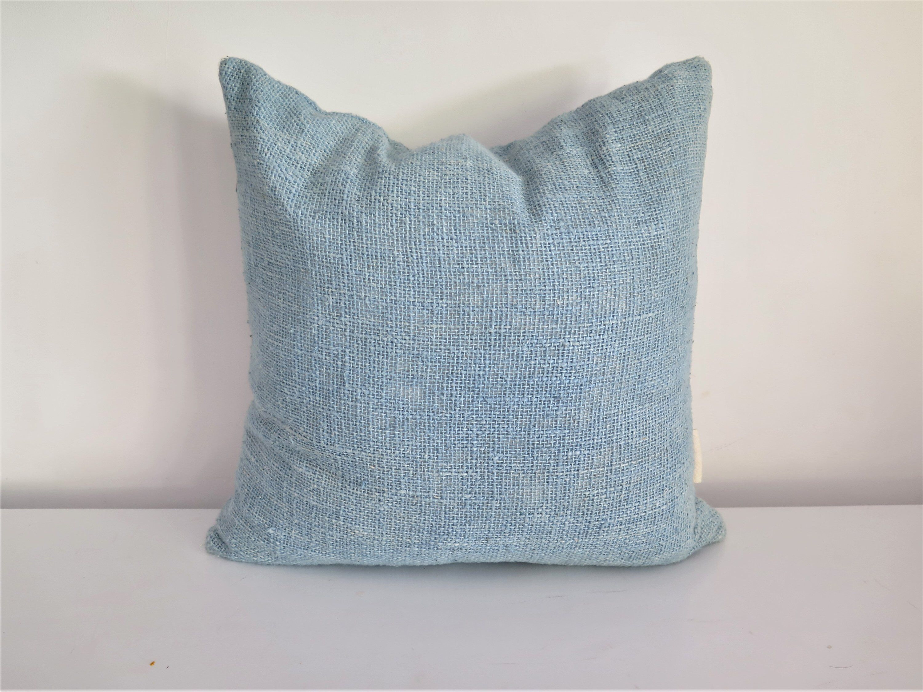 Handwoven hand dyed light indigo raw cotton cushion cover x