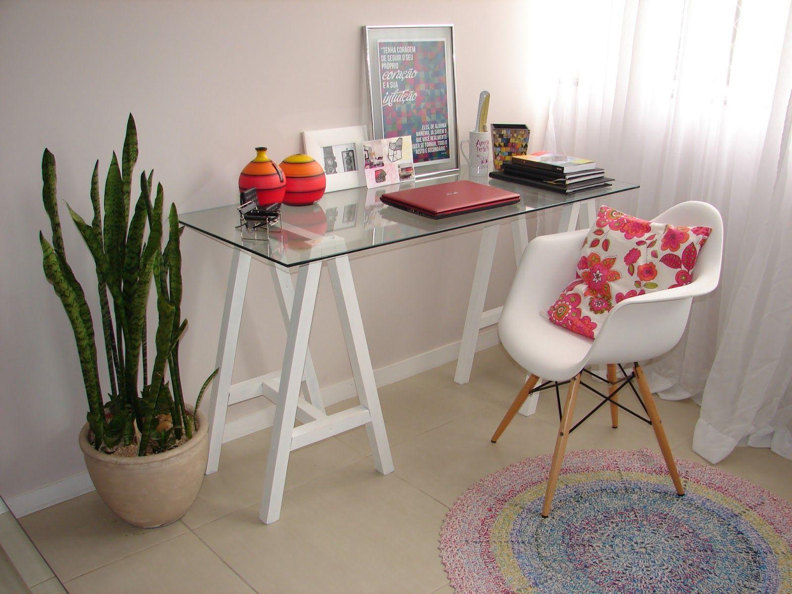 Home Office Cavalete Tampo De Vidro