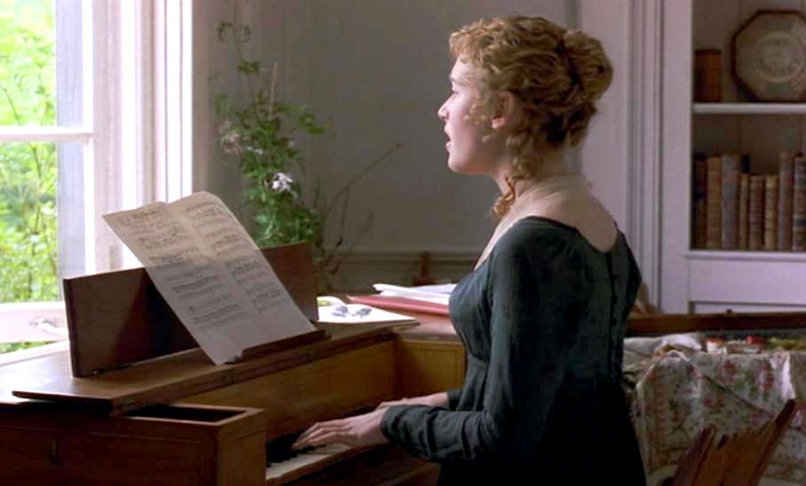 Sense & Sensibility Movie  Marianne Dashwood playing piano - Jane Austen - actor Kate Winslet