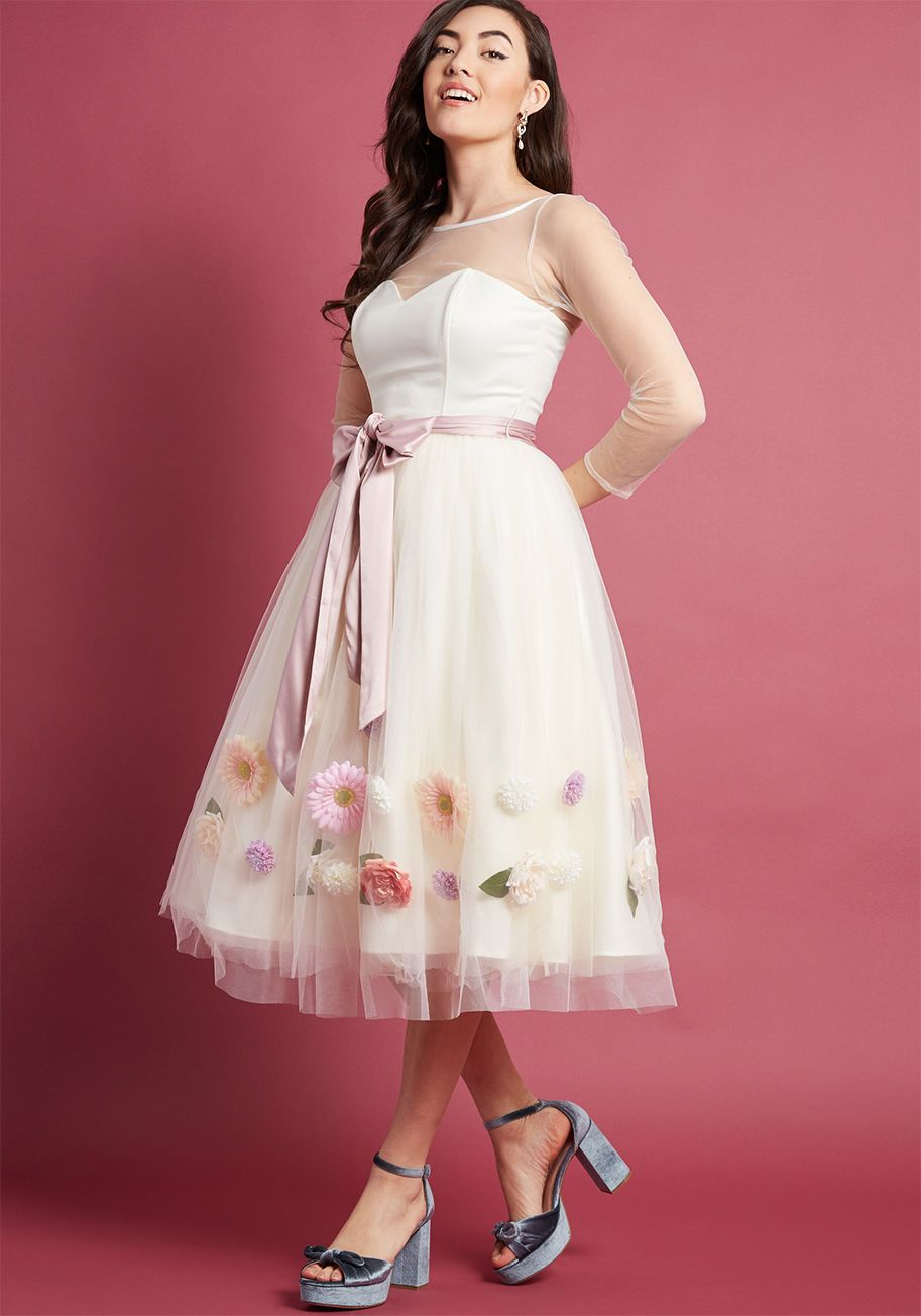 ca931c6b0554 Collectif Fondness Blossoms Fit and Flare Dress in Ivory ...