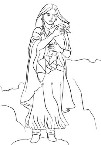 Sacagawea coloring page from Native Americans category