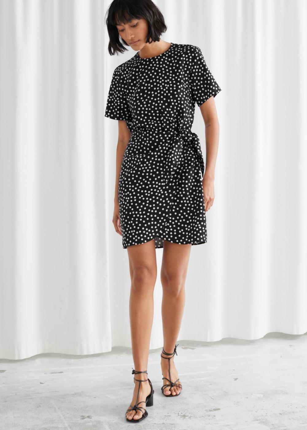Knot Detail Mini Dress Short Sleeve Mini Dress Wrap Dress Mini Wrap Dress [ 1400 x 1000 Pixel ]