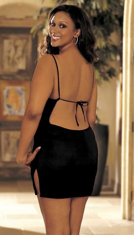Slinky, skimpy plus size mini dress in Red or Black ...