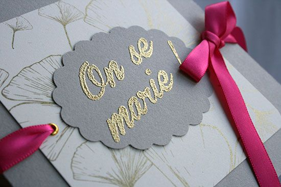 faire part mariage ginkgo gris rose propos par invitation faire part. Black Bedroom Furniture Sets. Home Design Ideas
