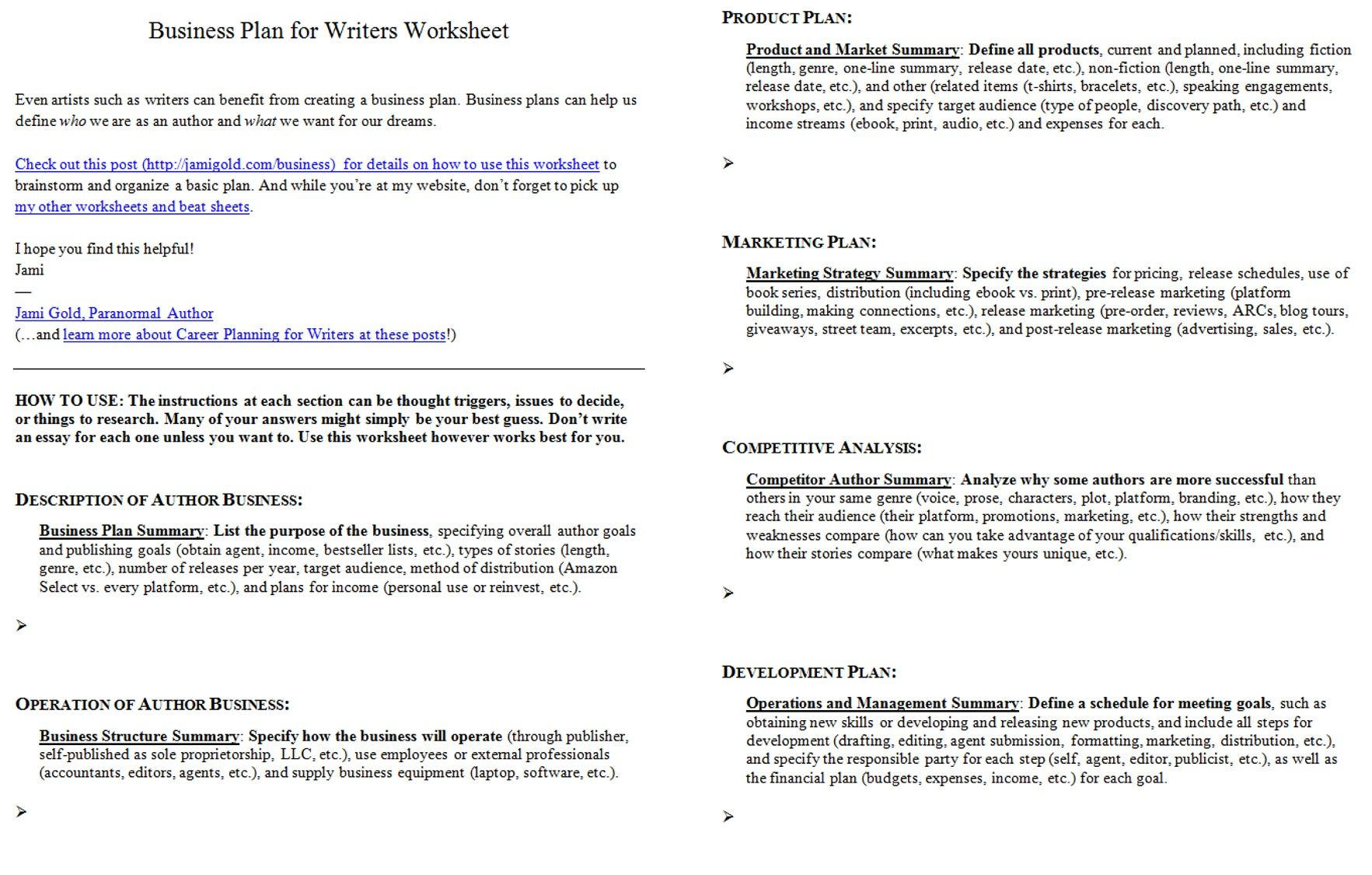 Worksheets For Writers  Business Planning Worksheets And Writer