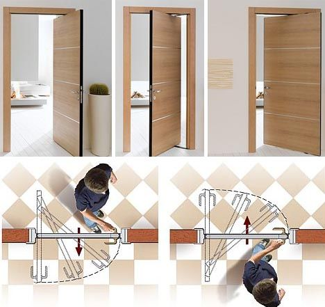 360 Degree Swing Hinge Door Awesome For Small Spaces And People Who Like To Vacuum Every Nook And Crann Space Saving Doors Space Saving Furniture Pivot Doors