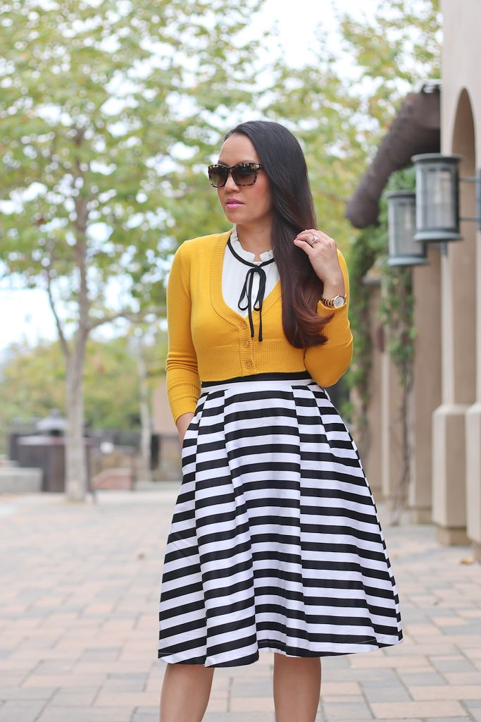 5346181b52f05 Striped Midi Skirt Mustard Crop Cardigan Black Bow Pumps