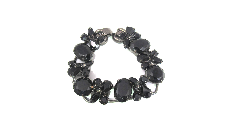 Vintage Coro Prong Set Black Glass Rhinestone Necklace /& Bracelet