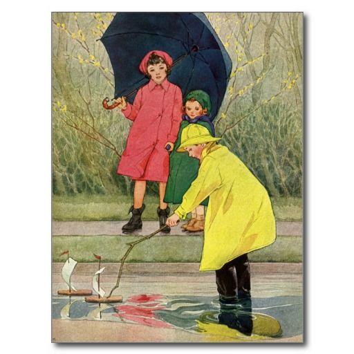 Kids play in rain