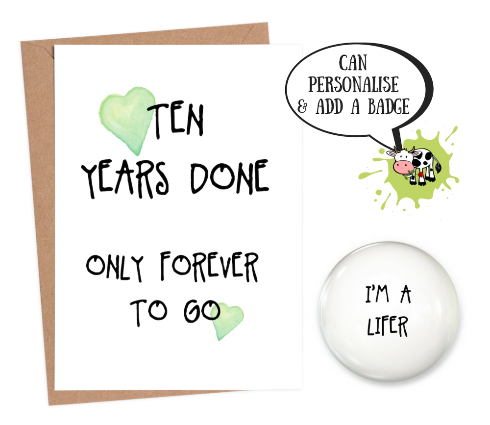 10th year anniversary card personalised wedding