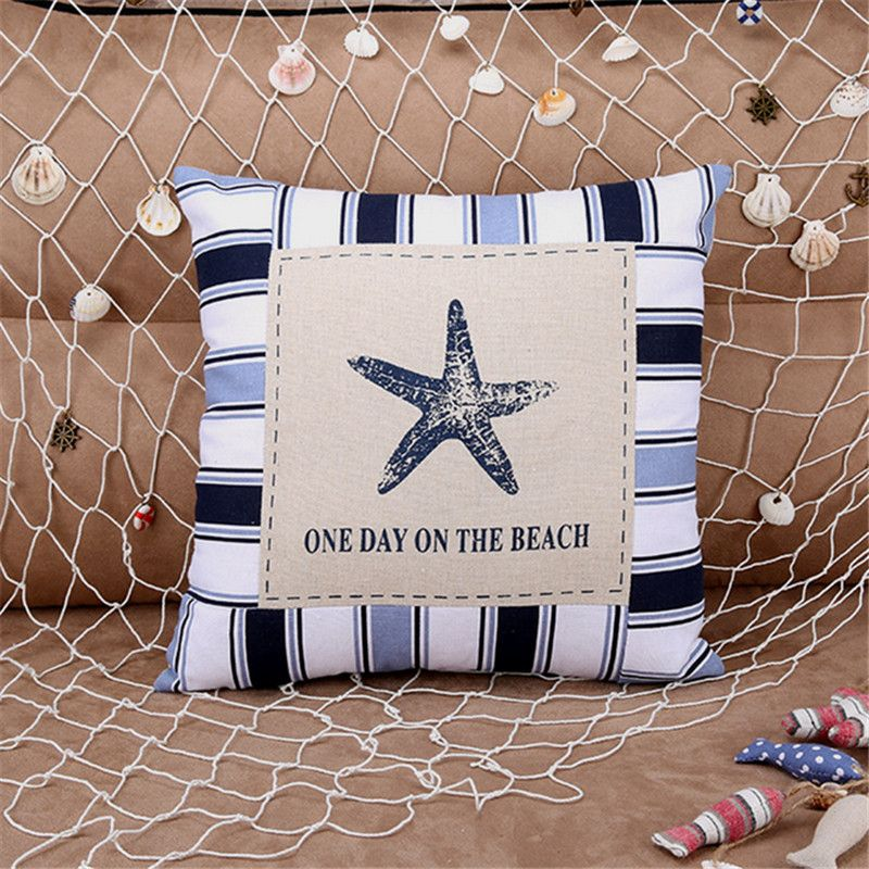 Mediterranean Style 40 x 40cm Cushion Cover Sea Shell Starfish