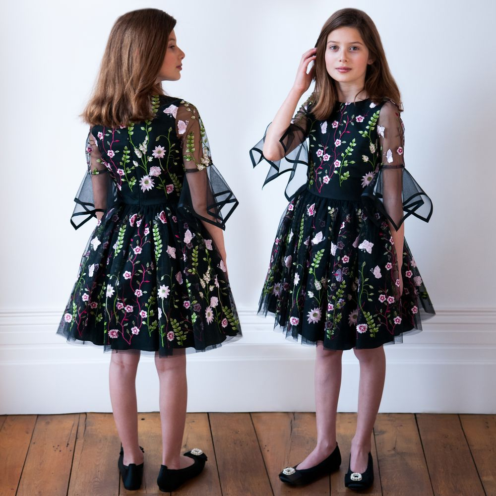 Girls black floral tulle dress tulle dress floral and dresses