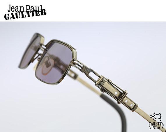 c33f547f2 Jean Paul Gaultier 56-0002, Vintage square steampunk mens sunglasses, 90s  rare and unique adjustable
