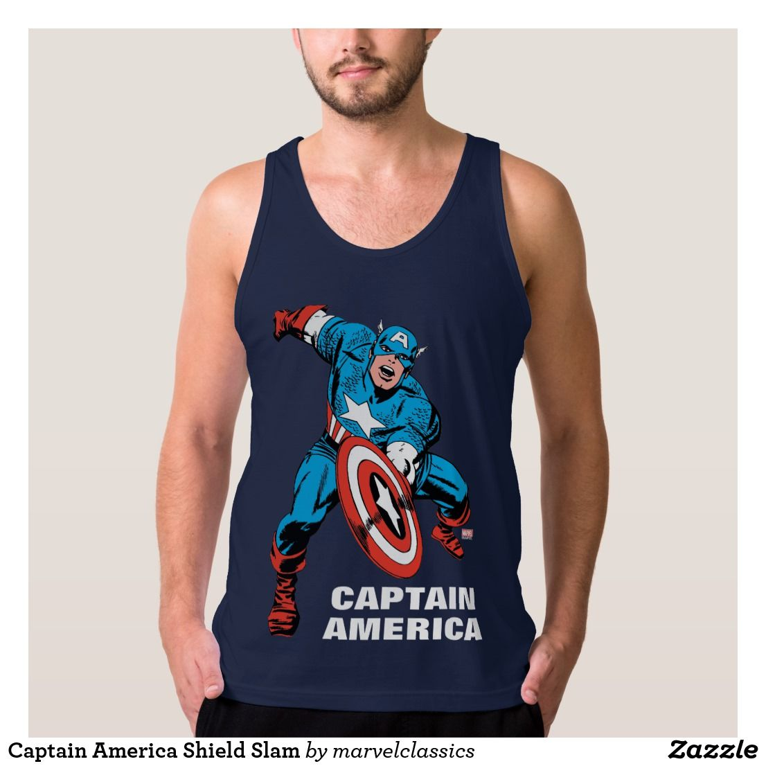 9bb6a2aef8cd3 Captain America Shield Slam Tank Top. Bright and Cool classic Marvel  superhero designs to personalize as a gift for yourself
