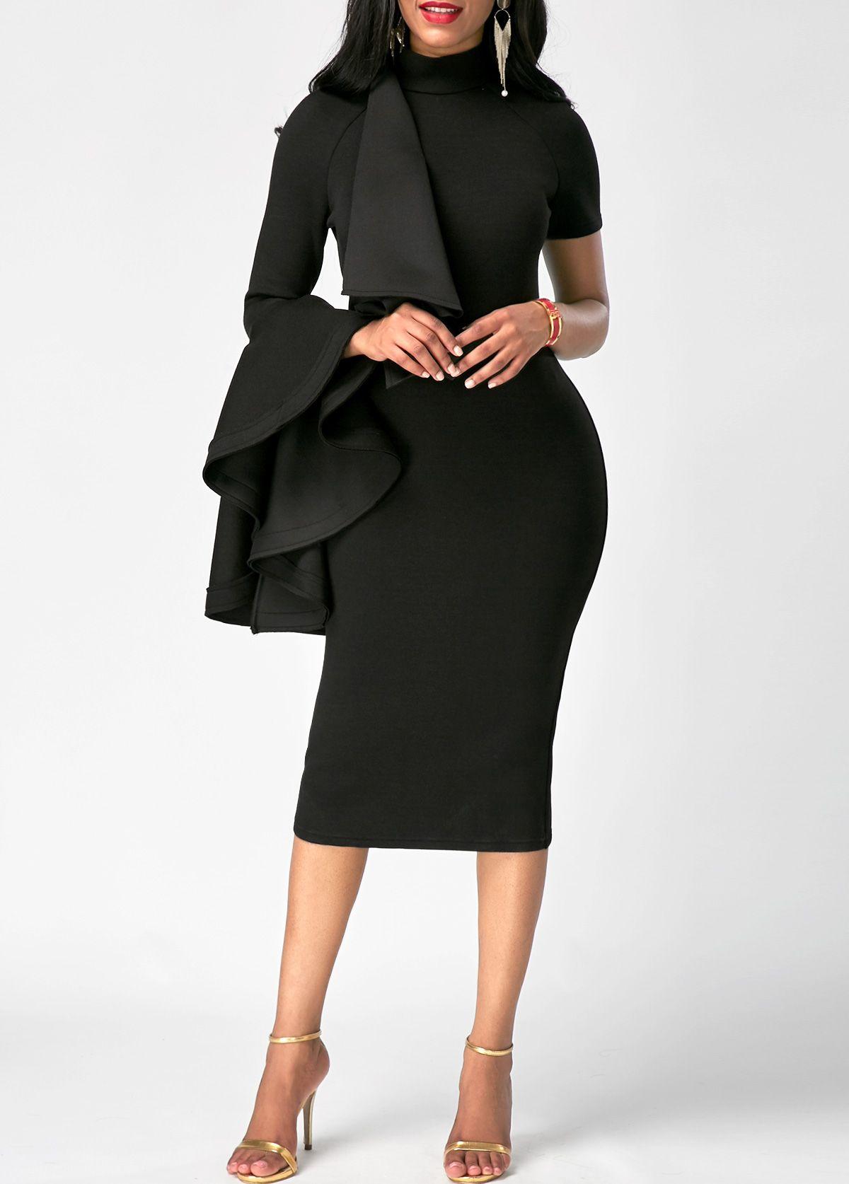 Black Bell Sleeve High Neck Bodycon Midi Dress Vestidos Coctel Moda Estilo Moda [ 1674 x 1200 Pixel ]