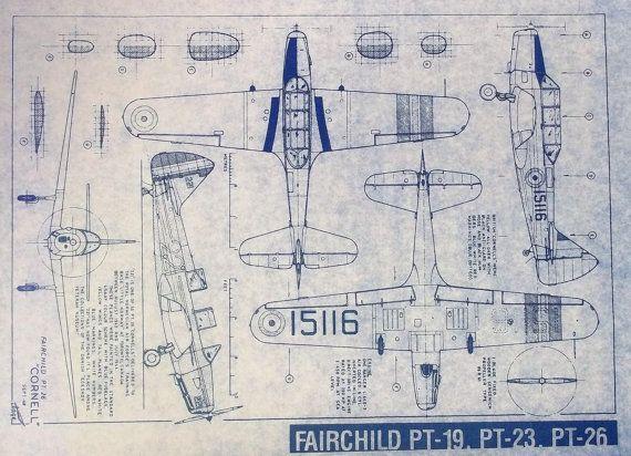 Fairchild PT-19, PT-23, PT-26 Airplane Blueprint Decor Pinterest - copy famous blueprint art