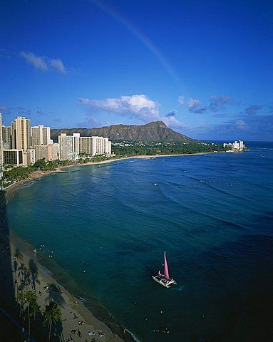 Rainbow, Diamond Head, Waikiki, Oahu, Hawaii, USA
