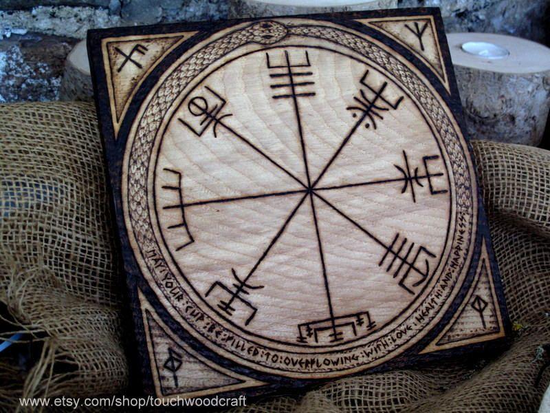 VALHALLA THOR HAMMER Coin Compass Good Luck  Runes Runic Pagan