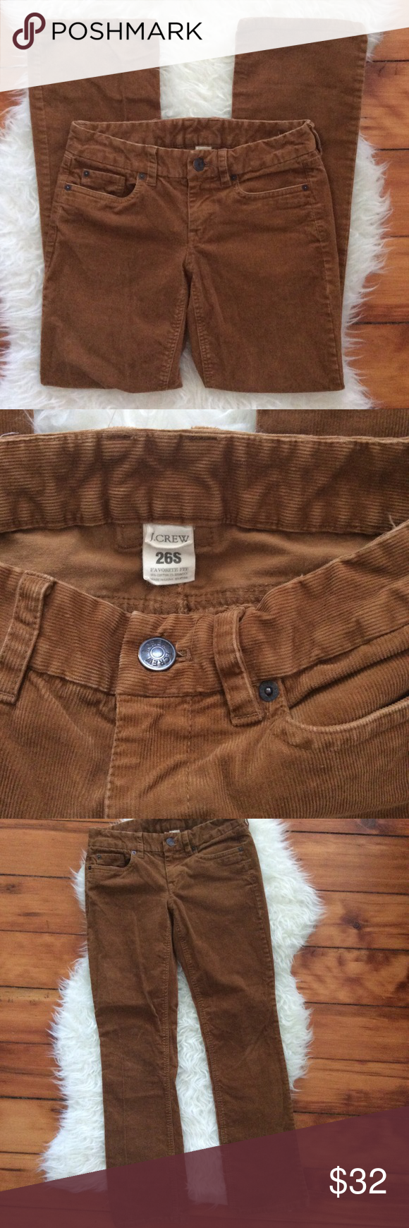"J. Crew Chestnut Favorite Fit Corduroy Pants Excellent condition J. Crew chestnut brown Favorite Fit corduroy pants. Size 26S (short). Waistband 28"", rise 7.5"", inseam 30"", leg opening 16"". Slightly boot cut. 98% cotton, 2% spandex. Slightly stretchy. No trades, offers welcome. J. Crew Pants Straight Leg"