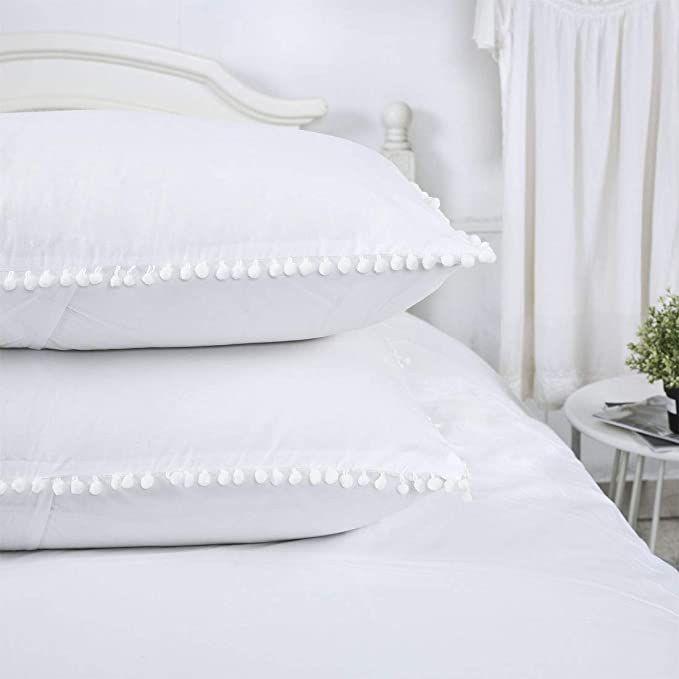 YINFUNG Pom Pillow Shams White Standard Set of 2 Pom Fringe Pillowcases Boho Pillow Cover Ball Tassel Trimmed Cute Pretty Girls Teens 100% Cotton 20x26