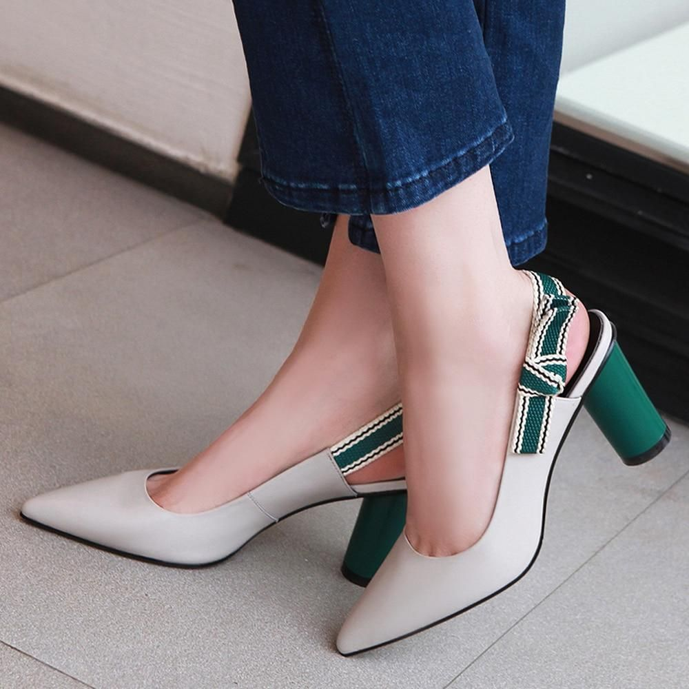 Miss Green Genuine Leather Pointed Toe Shoes