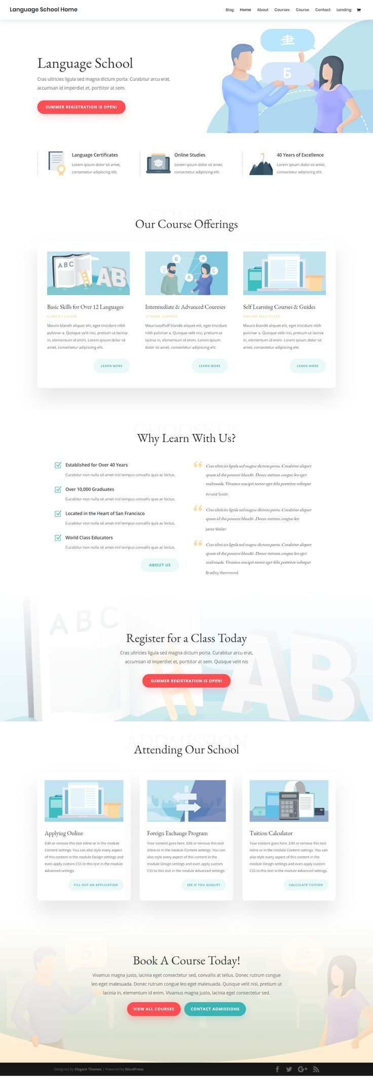 Language School Landing Page Elegant Themes Learning Website Design Business Web Design Corporate Web Design