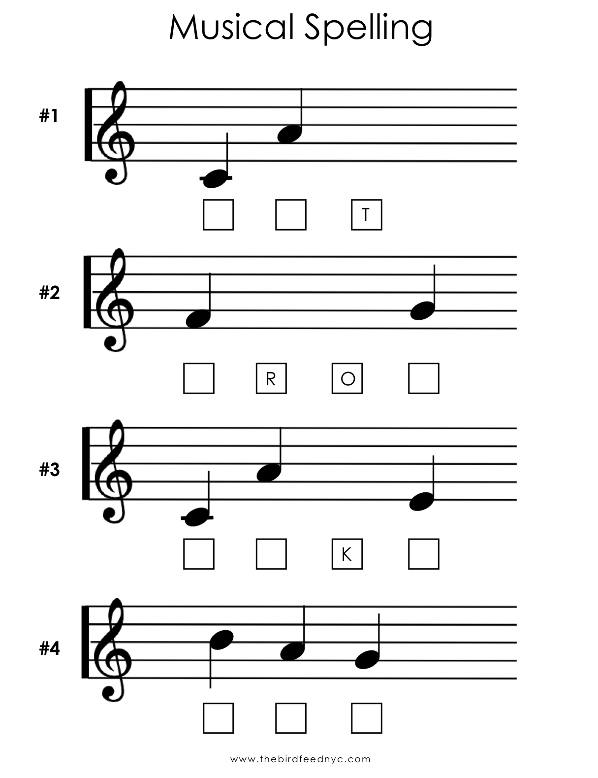 Musical Spelling Activity Sheet The Bird Feed Nyc