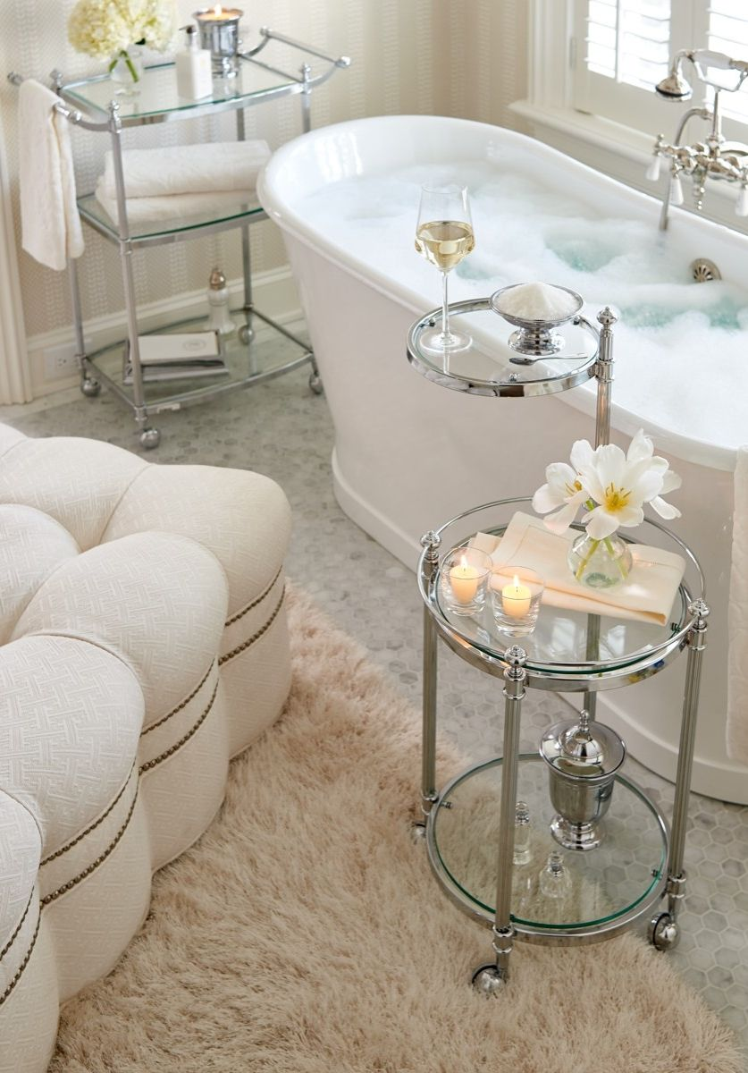 Joanie Tufted Ottoman Bathtub Tray Luxury Decor Beautiful
